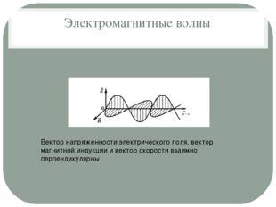 Электромагнитные волны Вектор напряженности электрического поля, вектор магни