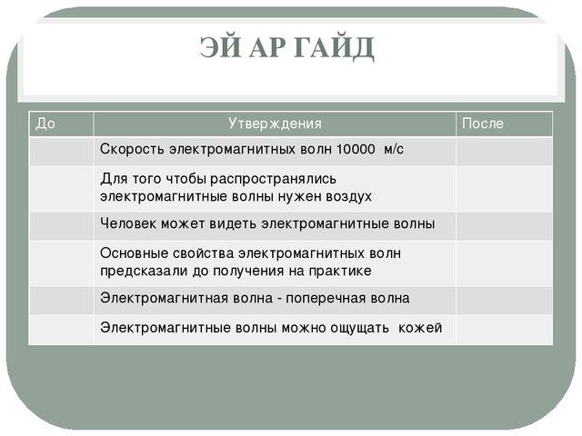 ЭЙАРГАЙД До Утверждения После Скорость электромагнитных волн 10000м/с Для т...