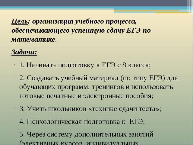 Цель: организация учебного процесса, обеспечивающего успешную сдачу ЕГЭ по ма...