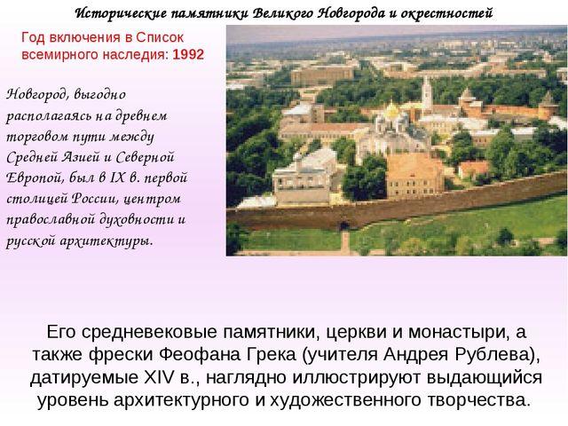 Исторические памятники Великого Новгорода и окрестностей Год включения в Спис...