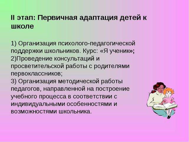 II этап: Первичная адаптация детей к школе 1) Организация психолого-педагогич...