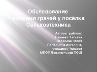 Обследование колонии грачей у посёлка Сельхозтехника Авторы работы: Нанаева Т