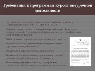 Требования к программам курсов внеурочной деятельности Программы курсов внеур