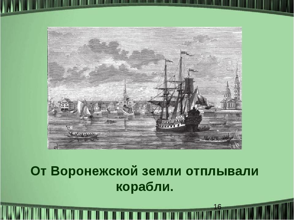 От Воронежской земли отплывали корабли.