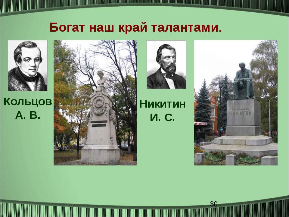 Богат наш край талантами. Кольцов А. В. Никитин И. С.