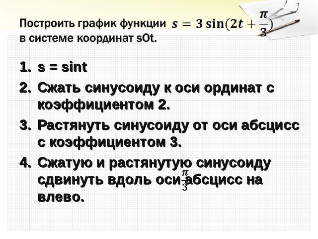 s = sint Cжать синусоиду к оси ординат с коэффициентом 2. Растянуть синусоиду...