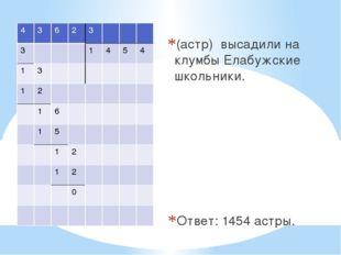 (астр) высадили на клумбы Елабужские школьники. Ответ: 1454 астры. 4 3 6 2 3