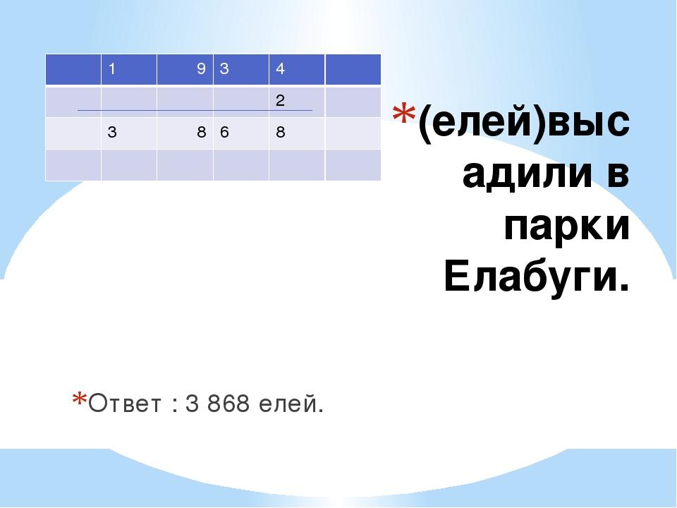 (елей)высадили в парки Елабуги. Ответ : 3 868 елей. 1 9 3 4 2 3 8 6 8
