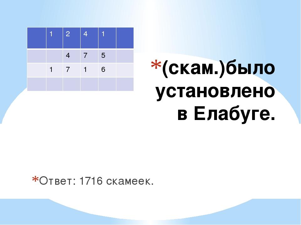 (скам.)было установлено в Елабуге. Ответ: 1716 скамеек. 1 2 4 1 4 7 5 1 7 1 6