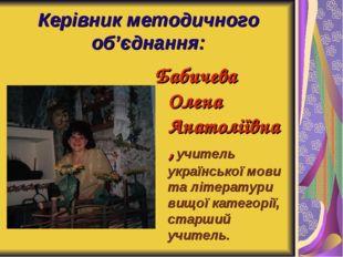 Керівник методичного об'єднання: Бабичева Олена Анатоліївна, учитель українсь