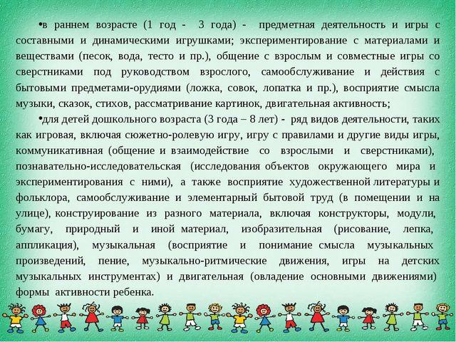 в раннем возрасте (1 год - 3 года) - предметная деятельность и игры с составн...