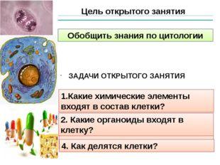 Цель открытого занятия Обобщить знания по цитологии 1.Какие химические элемен