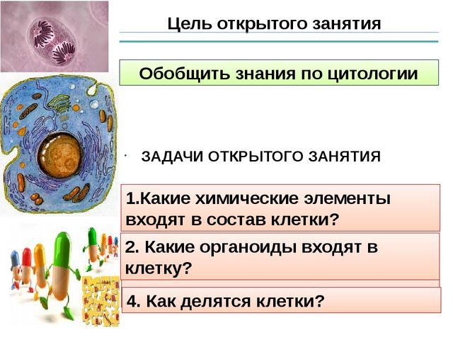 Цель открытого занятия Обобщить знания по цитологии 1.Какие химические элемен...