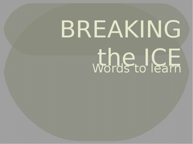 BREAKING the ICE Words to learn