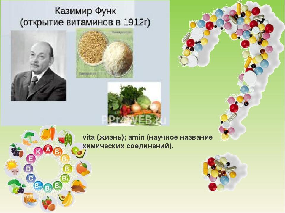 vita (жизнь); amin (научное название химических соединений).