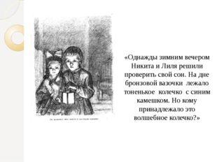 «Однажды зимним вечером Никита и Лиля решили проверить свой сон. На дне бронз