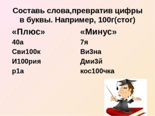 Составь слова,превратив цифры в буквы. Например, 100г(стог) «Плюс» 40а Сви100
