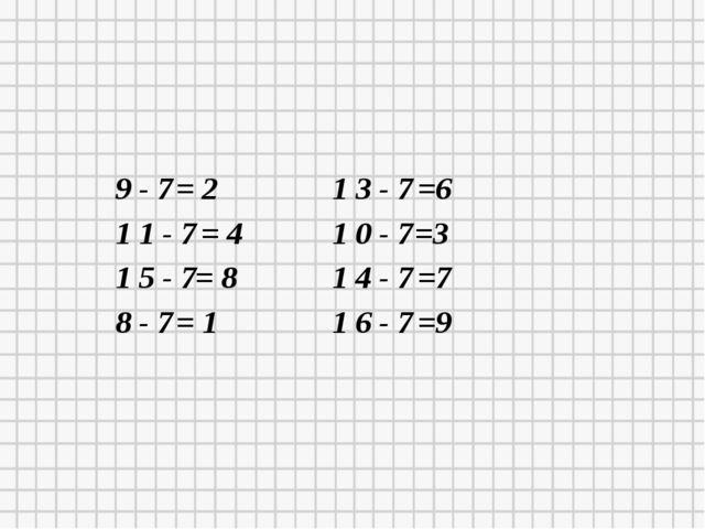 9 - 7 = 2 1 1 - 7 = 4 1 5 - 7 = 8 8 - 7 = 1 1 3 - 7 =6 1 0 - 7 =3 1 4 - 7 =7...