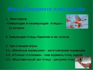 Игра «Покормите птиц зимой» Викторина «Зимующие и незимующие птицы» - 21 вопр
