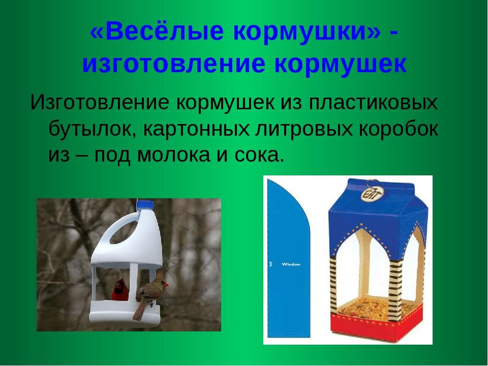«Весёлые кормушки» - изготовление кормушек Изготовление кормушек из пластиков...