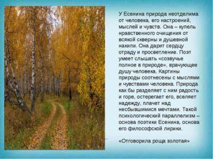 . … У Есенина природа неотделима от человека, его настроений, мыслей и чувст