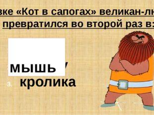 В сказке «Кот в сапогах» великан-людоед превратился во второй раз в: мышь пче