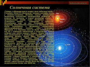 Солнце и обращающиеся вокруг него небесные тела – 9 планет, более 63 спутнико