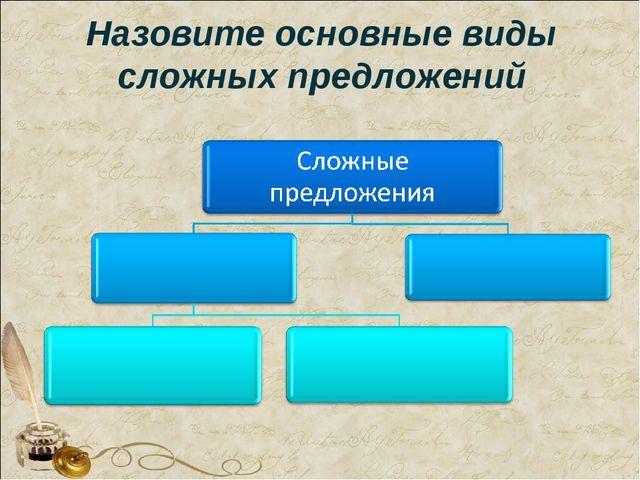 Назовите основные виды сложных предложений