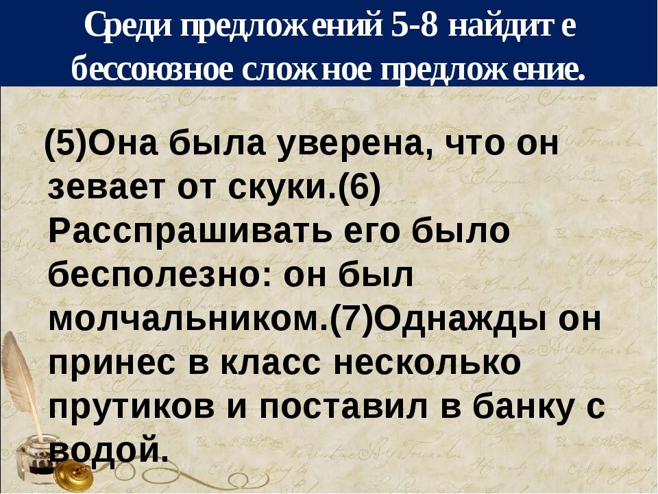 Среди предложений 5-8 найдите бессоюзное сложное предложение. (5)Она была уве...