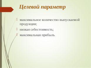 Целевой параметр максимальное количество выпускаемой продукции; низкая себест