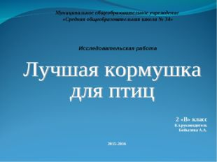 2 «В» класс Кл.руководитель Бобылева А.А. 2015-2016 Муниципальное общеобразо