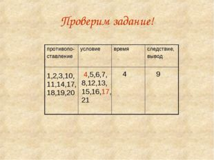 Проверим задание! 1,2,3,10, 11,14,17, 18,19,20 4,5,6,7, 8,12,13, 15,16,17, 21