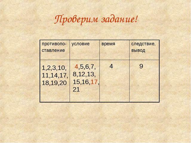 Проверим задание! 1,2,3,10, 11,14,17, 18,19,20 4,5,6,7, 8,12,13, 15,16,17, 21...