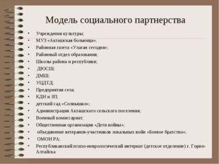 Модель социального партнерства Учреждения культуры; МУЗ «Акташская больница»;
