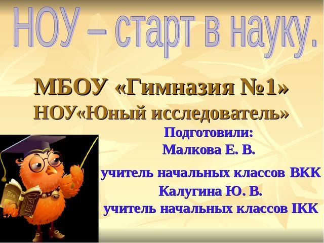 МБОУ «Гимназия №1» НОУ«Юный исследователь» Подготовили: Малкова Е. В. учитель...