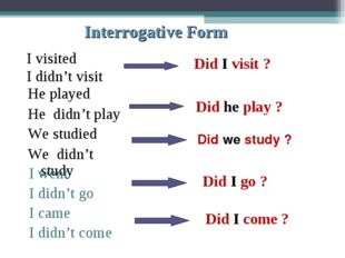 Interrogative Form I visited I didn't visit Did I visit ? Did he play ? Did w
