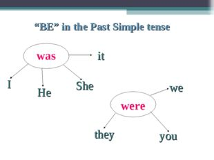 "was were I She it we you He they ""BE"" in the Past Simple tense"