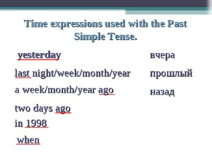 Time expressions used with the Past Simple Tense. yesterday вчера last night/
