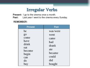 Irregular Verbs Present: I go to the cinema once a month. Past: Last year I w