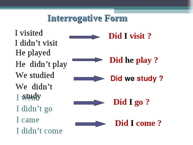 Interrogative Form I visited I didn't visit Did I visit ? Did he play ? Did w...