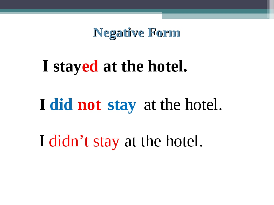 Negative Form I stayed at the hotel. I did not stay at the hotel. I didn't st...