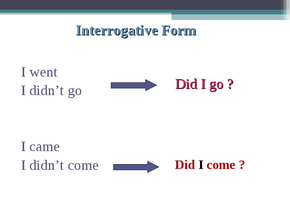 Interrogative Form I went I didn't go I came I didn't come Did I go ? Did I c...