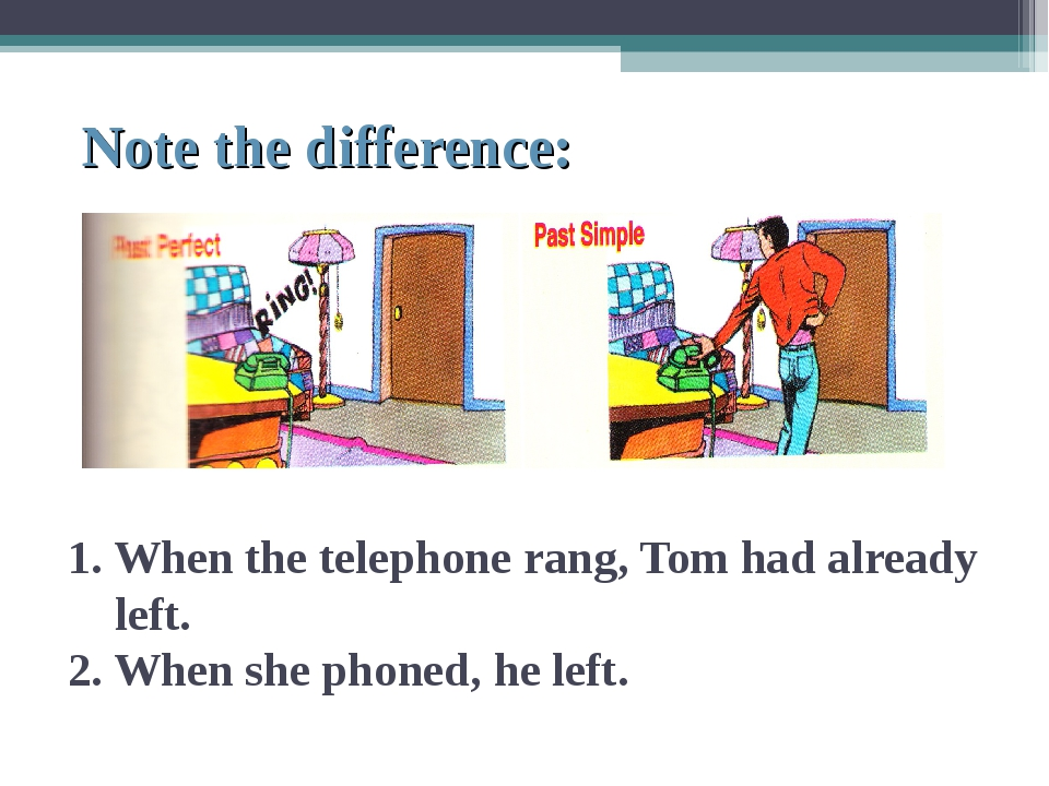 Note the difference: 1. When the telephone rang, Tom had already left. 2. Wh...
