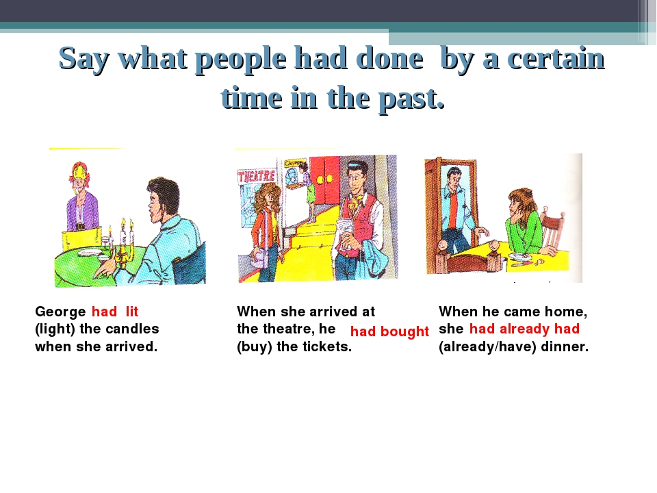 Say what people had done by a certain time in the past. George (light) the ca...
