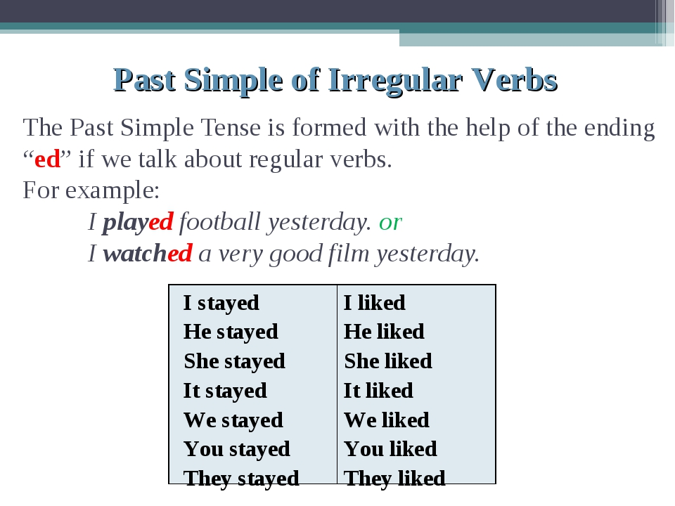 "The Past Simple Tense is formed with the help of the ending ""ed"" if we talk a..."