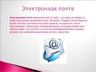 Электронная почта (electronic mail, E-mail) – это одна из первых и наиболее р