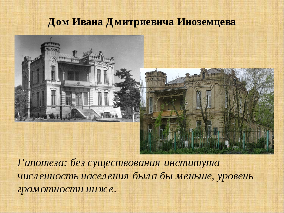 Дом Ивана Дмитриевича Иноземцева Гипотеза: без существования института числен...