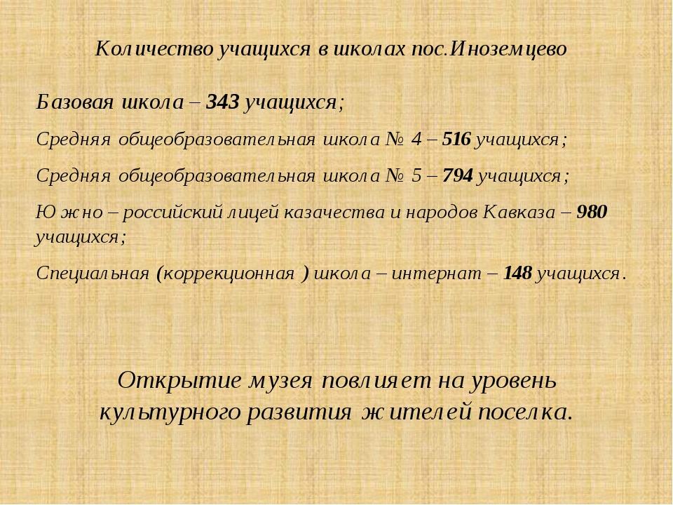 Количество учащихся в школах пос.Иноземцево Базовая школа – 343 учащихся; Сре...