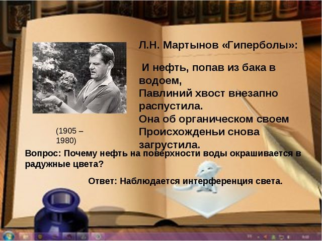 Л.Н. Мартынов «Гиперболы»: И нефть, попав из бака в водоем, Павлиний хвост вн...