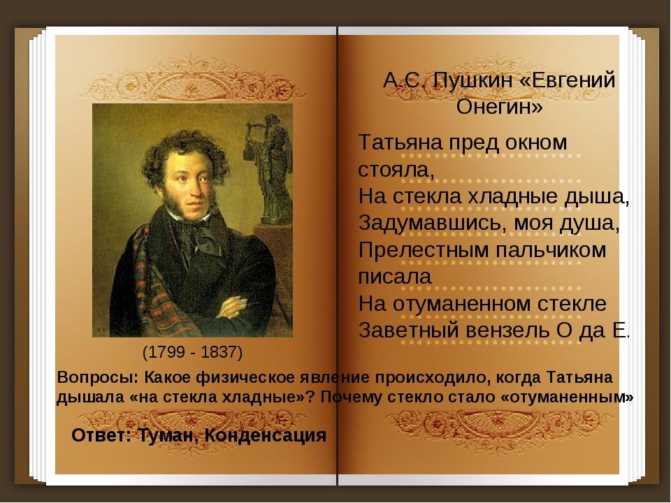А.С. Пушкин «Евгений Онегин» Татьяна пред окном стояла, На стекла хладные дыш...